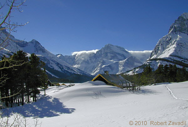 Photo Of Winter Cabin On Swiftcurrent Lake In Glacier National Park
